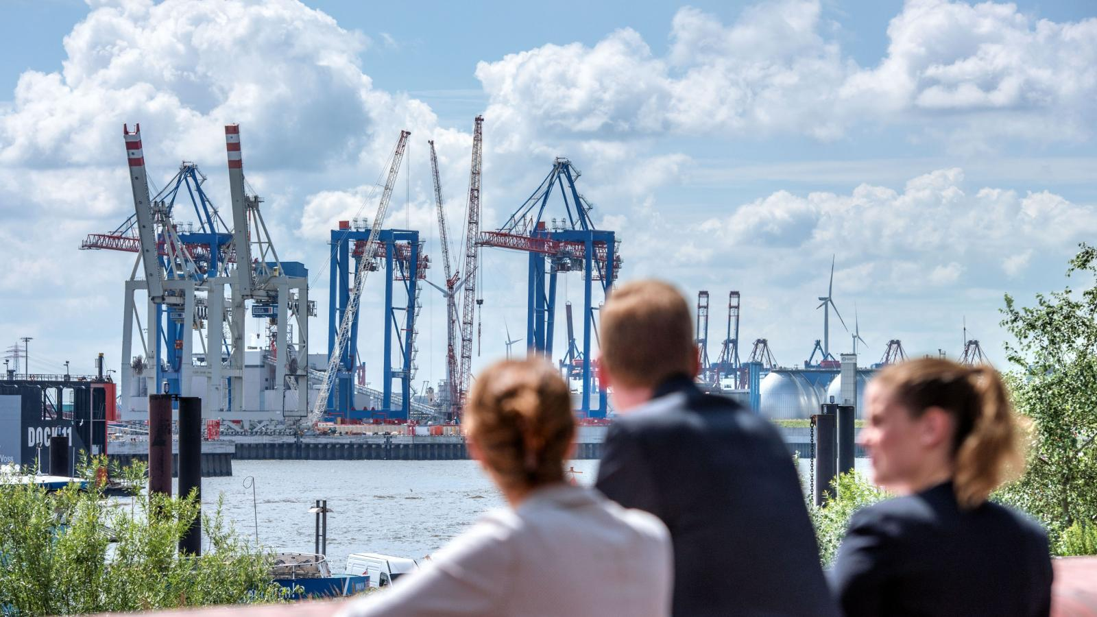 Business people in Port of Hamburg