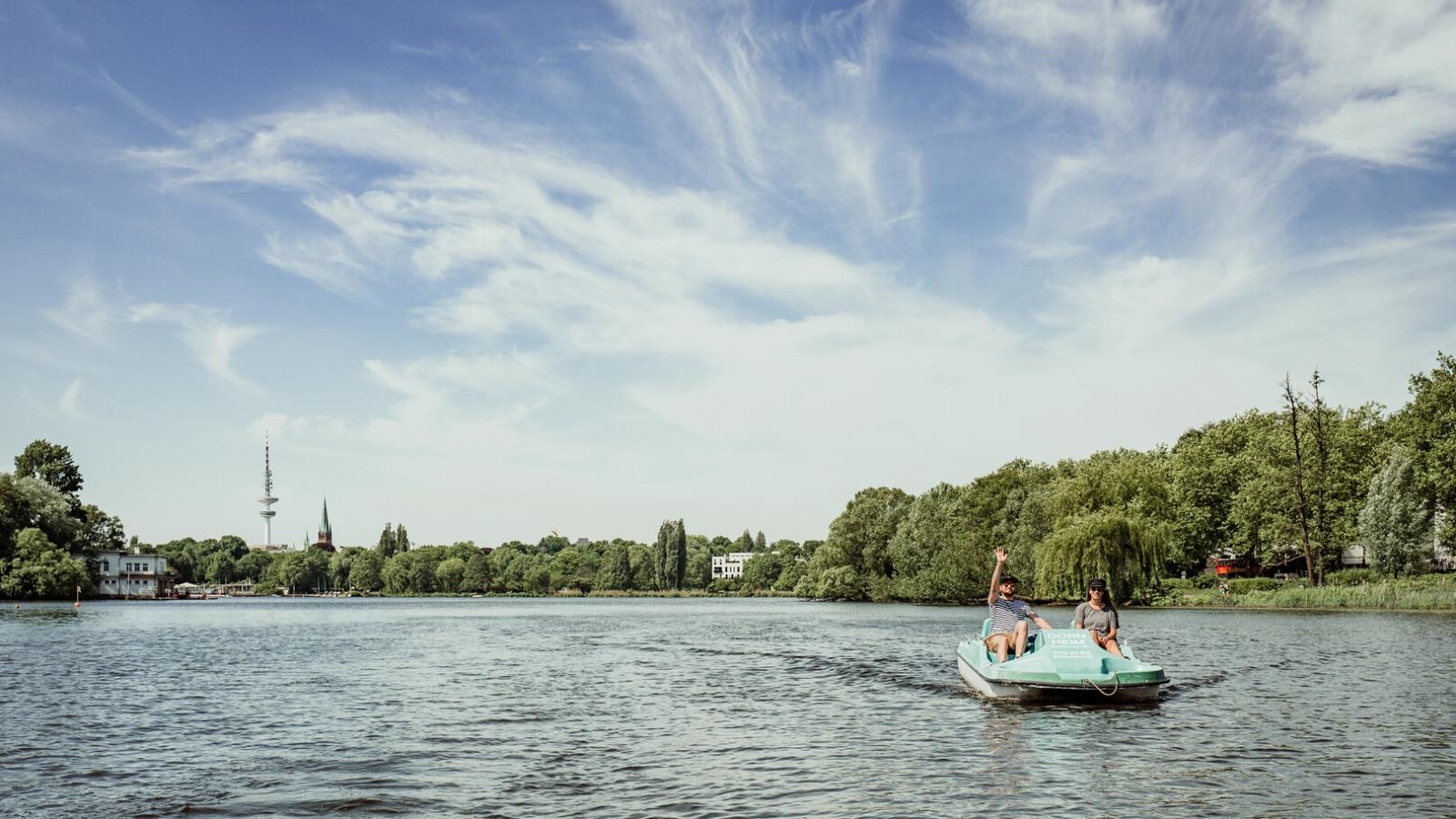 Pedal boat on Lake Alster