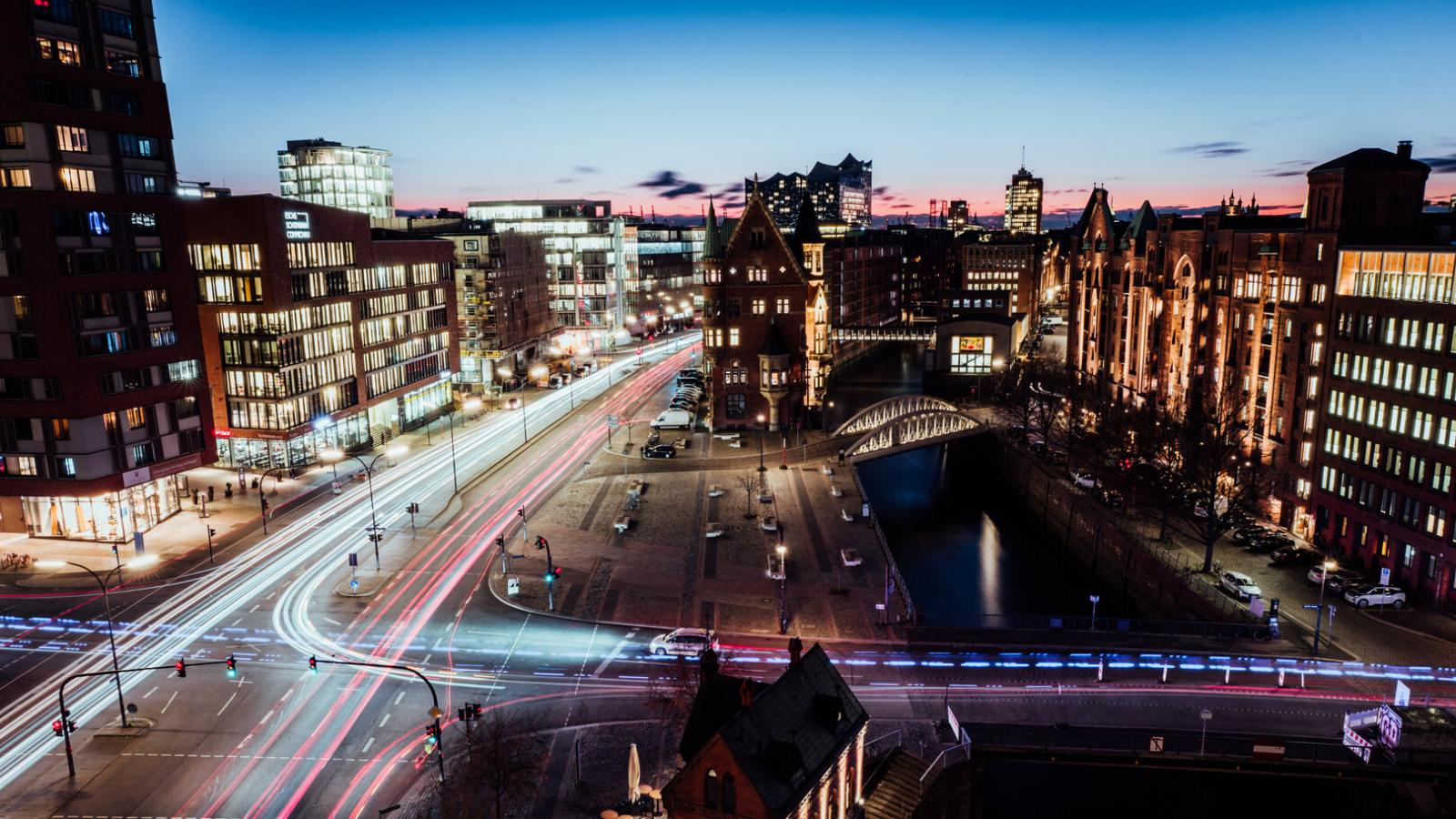Traffic in Hamburg's Speicherstadt