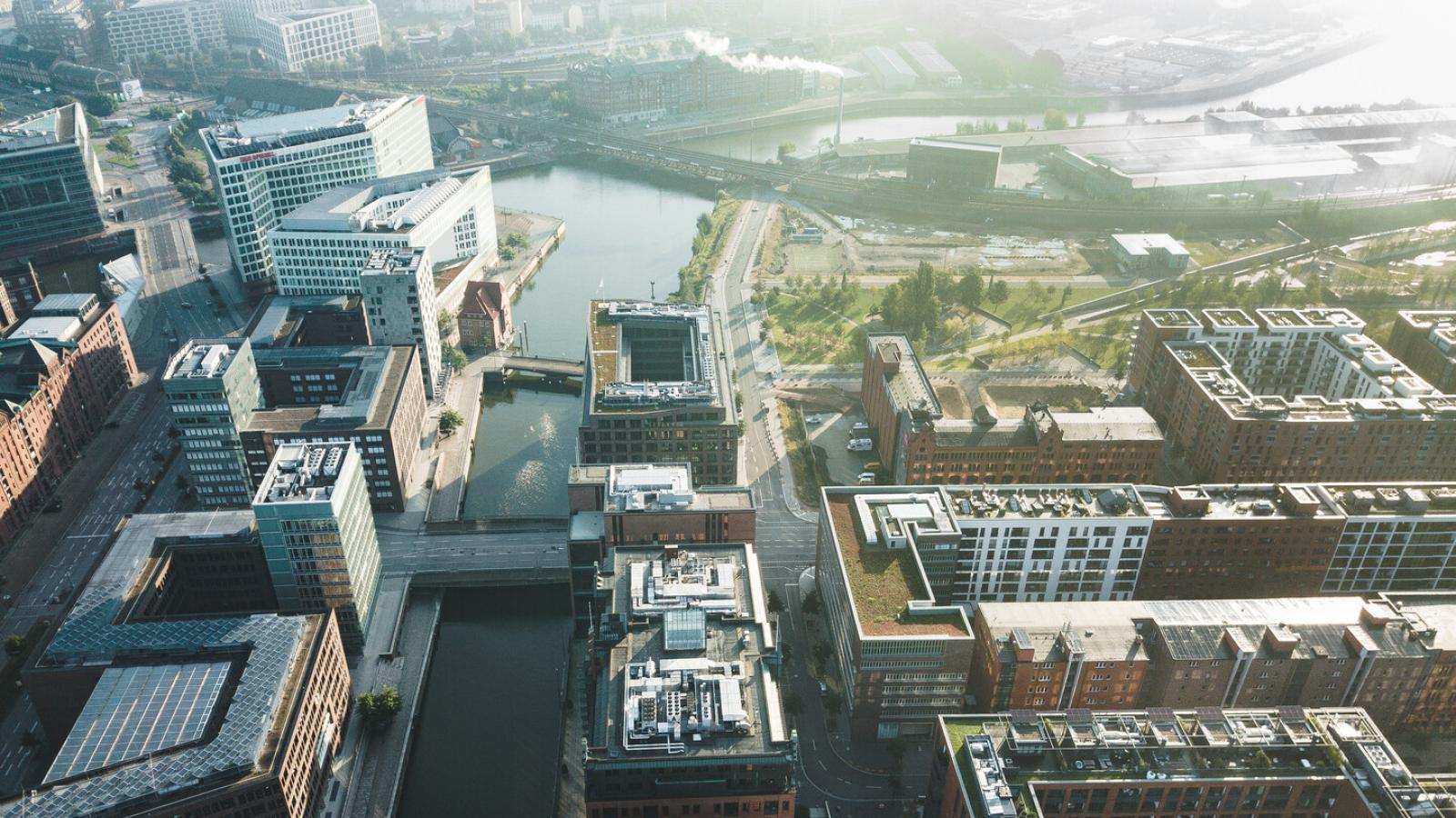 Aerial view of HafenCity