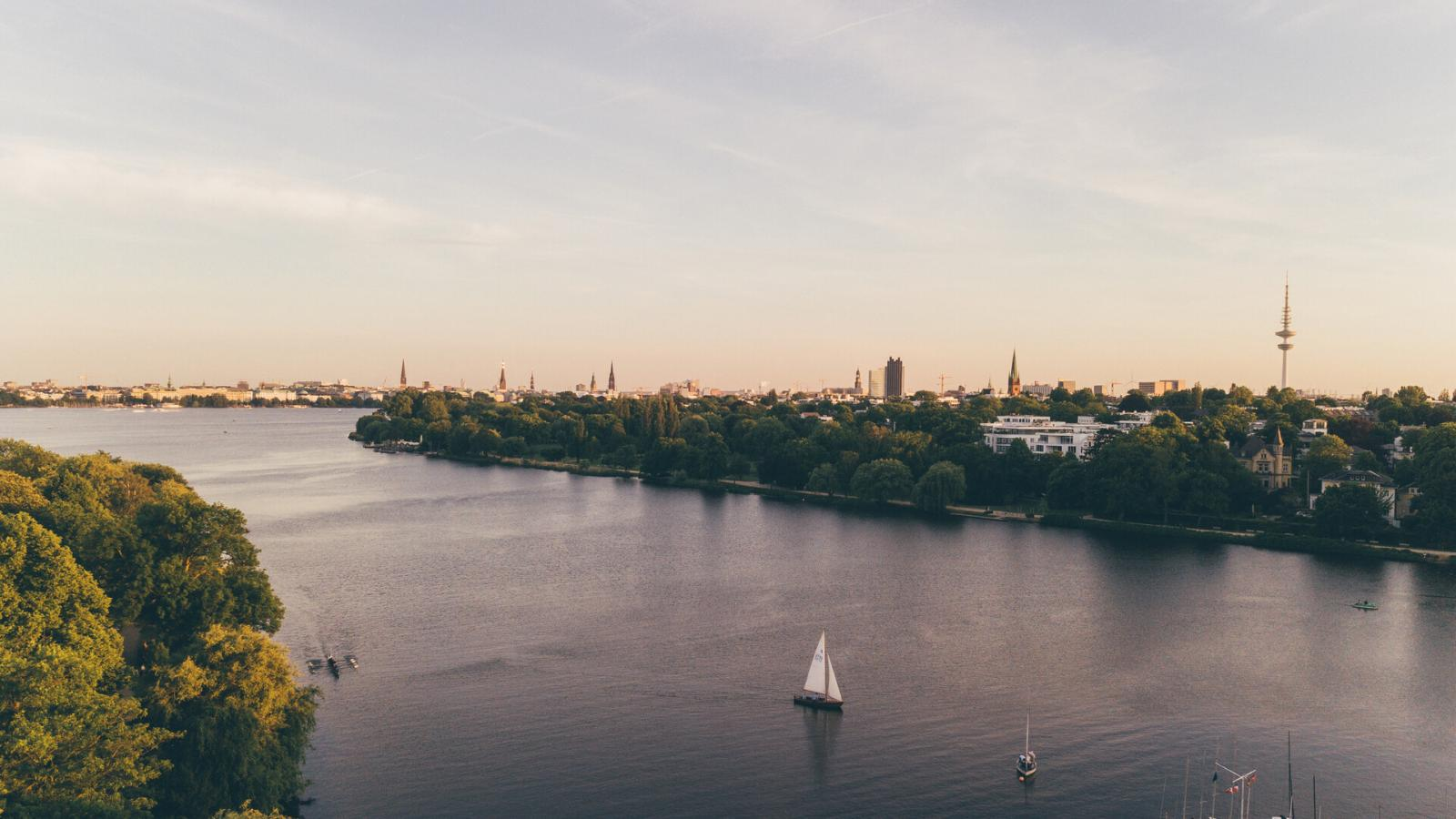 Aerial view of Outer Lake Alster